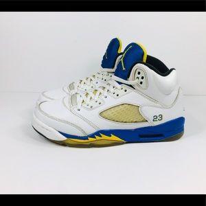 Nike Air Jordan V Retro Laney White Blue Sz 8